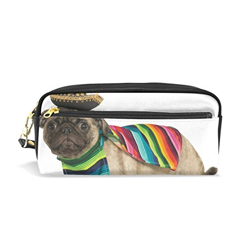 LEISISI Mexican Pet Dog Wearing Costume School Pencil Bag PU Leather Stationery Pouch Case Women Cosmetic Bag Large (Wearing A Costume To School)