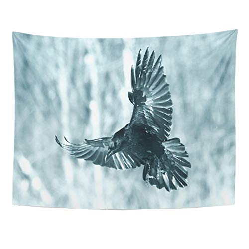 Emvency Tapestry 60 x 50 Inches Angry Bird Flying Black Raven Corvus Corax in Winter Time for to Eat Halloween Animal Beak Home Decor Tapestries Wall Hangings Art for Living Room Bedroom Dorm for $<!--$19.99-->