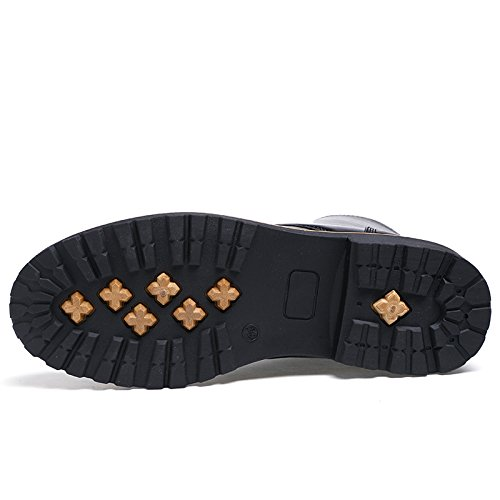 WZG las botas casuales de los hombres salvajes de deslizamiento Martin botas de encaje botas de los hombres urbanos Black