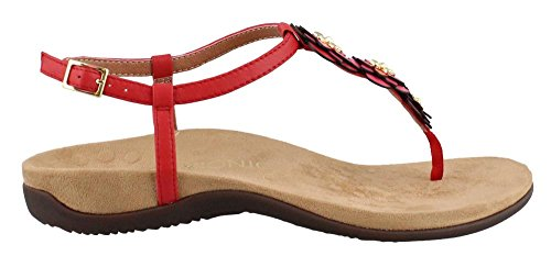 Womens Paulie Red Sandals Vionic Leather 6BHwxHS