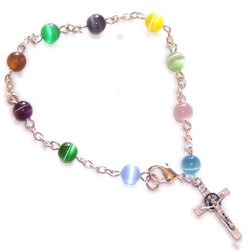 Cat Eye Rosary Crucifix (Cats Eye Beads chaplet 10 beads Rosary (Bead size 6mm- 19cm or 7.5 inches long))