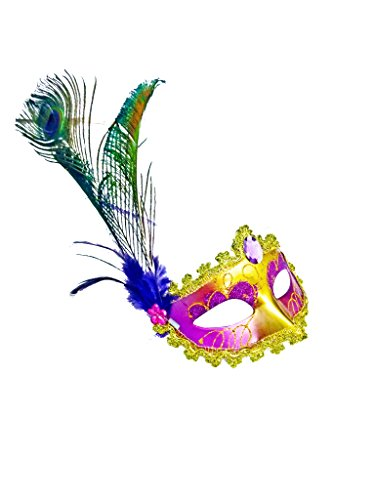 [JeVenis Royal Venetian Masquerade Mask Mardi Gras Party Mask Halloween Carnival Mask with Feather] (Venetian Carnival Masks)