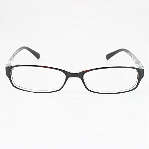 EyeBuyExpress Rectangle Black Reading Glasses Feather Light Comfort Fit Magnification Strength 0.5 ()