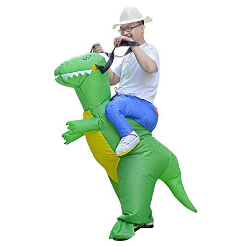 MH ZONE Inflatable Dinosaur Costumes for Adult, Adult Halloween Costumes T-Rex Inflatable Dinosaur Suit Cosplay Funny Dress(Adult Dinosaur) Green