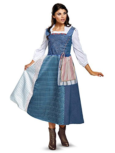 Disney Women's Belle Village Dress Deluxe Adult Costume  Multi  Medium by Disguise