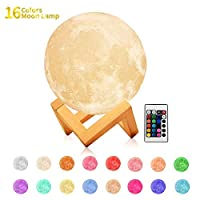 GZCY Gifts Toy for 1-12 Year Old Boys Girls Baby Lover Toldder Birthday Present, 16 Colors LED 3D Print Moon Lamp Night Light for Kids New Fun Cool Toys for 1-12 Year Old Girls Boys