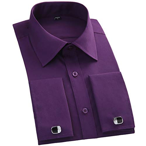 TAOBIAN Mens Dress Shirts French Cuff Long Sleeve Formal Slim Fit Shirts (Cufflink Included) Purple US - Casual Shirts French Cuff