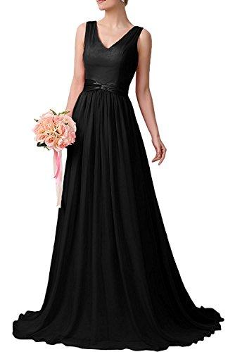 Braut Brautjungfernkleider Ballkleider La Herrlich Fuchsia Lang Abendkleider Chiffon A Linie Schwarz mia Partykleider 48q18w5
