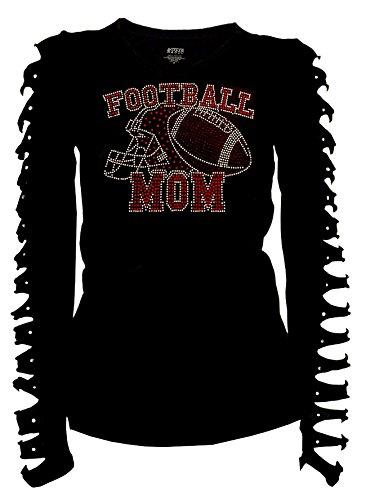 Womens T-shirt Football Cut (Fashion2ne1 Bling Bling Rhinestones Football Mom Helmet T-Shirt Ripped Cut Out Ln (1X-Large))