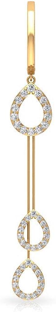 Pendientes de aro de pera de diamante certificado IGI de 0.44 quilates, barra de lágrima envejecida para mujer, pendientes de gota de diamante con claridad de color IJ-SI, pendientes de cadena larga p