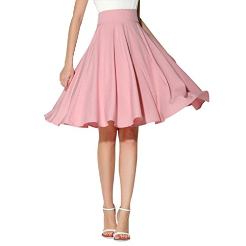 Women Solid Skirt Flared Retro Casual Knee Length Pleated Midi Office Work Skirts Pink