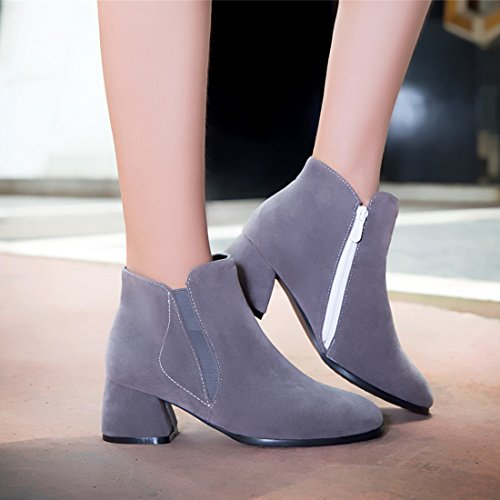 Agodor Womens Mid Block Heel Nubuck Leather Ankle Boots With Side Zippers Autumn Winter Shoes Grey 1ZBSwj