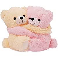 Sana Cute Pink and Cream Teddy Bear Couple Soft Toy -Pink & Cream,9.8Inch,