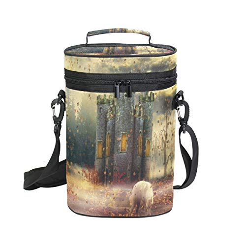 Wine Totes Travel Carrier Cooler Bag with Shoulder Strap Autumn Castle 2 Bottle Picnic Cooler Bag with Insulated Neoprene Leakproof Liner,Water Drinks Beer Lunch Bag for Grocery,Camping