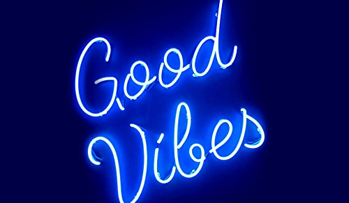 """Mirsne Good Vibes 17"""" by 14"""" Neon Signs, Glass Tube neon Sig"""