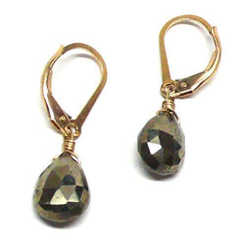 Pyrite Briolette Earrings (Pyrite Briolette Gold-Filled Lever Back Earrings Custom)