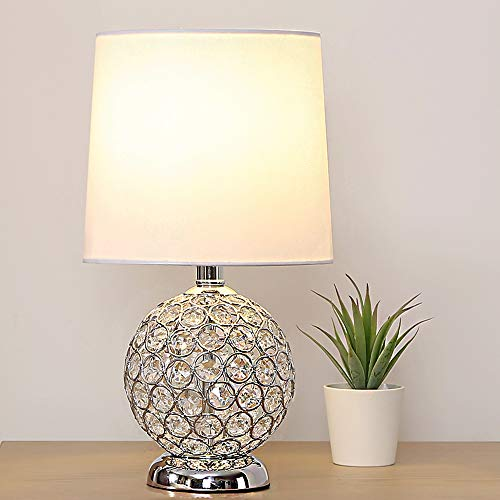 SOTTAE Elegant Style Mini Crystal Lamp Base Living Room Bedroom Bedside Table Lamp,Small Desk Lamp with White Fabric ()