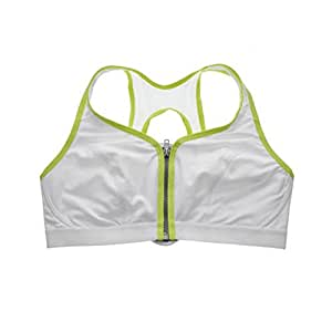 Women's Front Zipped Sports Bra Quick Dry Running Bra(38D, White/Green)