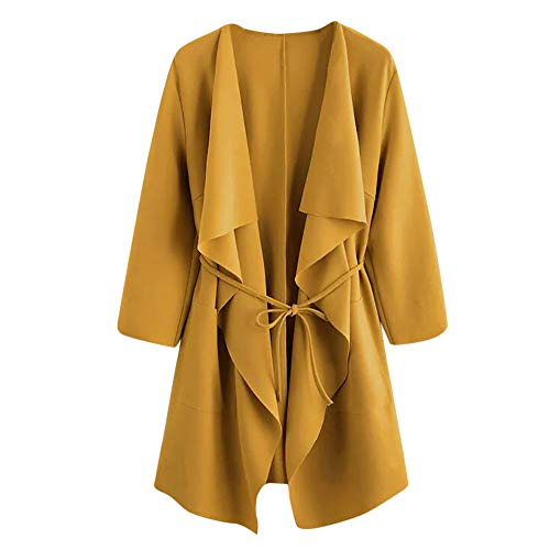 Clearance Sale ! Kshion 2018 Women's Autumn Winter Coats Waterfall Collar Pocket Front Wrap Jacket Outerwear Cardigan Overcoat (Yellow, XL)
