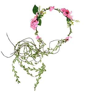 DDazzling Lily Flower Crown Tieback Halo Flower Crown Headband Photo Props (Pink) 7