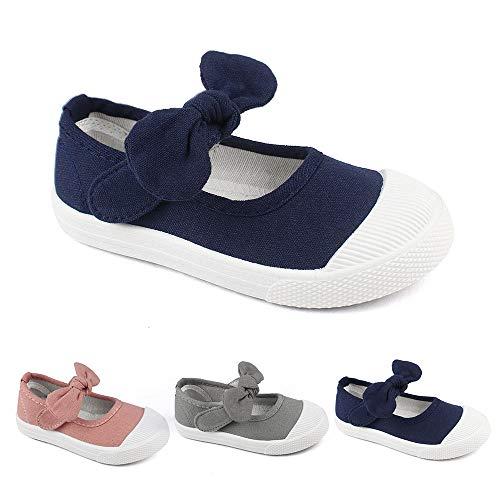 Estamico Kids School Uniform Dress Shoe Girls Bowknot Mary Jane Flat Sneakers Toddler/Little Kid