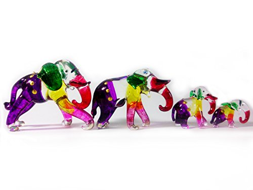 Sansukjai Set 4 Elephant Figurines Animals Hand Painted Hand Blown Glass Art Collectible Gift Decorate ()