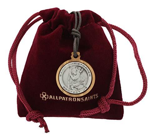 (ALLPATRONSAINTS Olive Wood Framed St Christopher Necklace Medal Prayer Card Gift Set)