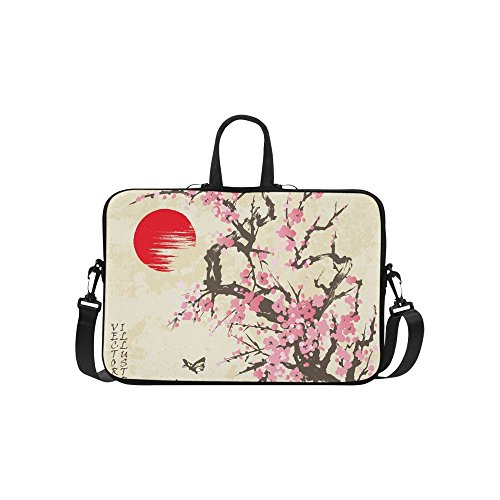 (InterestPrint Spring Sakura Cherry Blossom with Butterflies Japanese Style 15 15.6 Inch Waterproof Neoprene Laptop Notebook Sleeve Shoulder Bag with Handle & Strap for MacBook Dell HP Acer Woman Man )