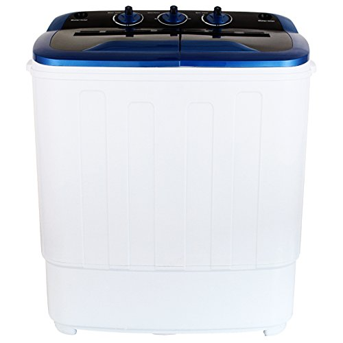 KUPPET Mini Compact Portable Twin Tub Time Control Washing Machine Washer Spin Dryer Perfect for Dorms, Apartments, Condos, Motor homes, RV's, Camping, White and Blue, 13Ibs Capacity