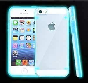 NANKY New Popular Cool Iphone 5 5s Light Lined Clear Luminous Case/TPU Case (Aqua Blue)