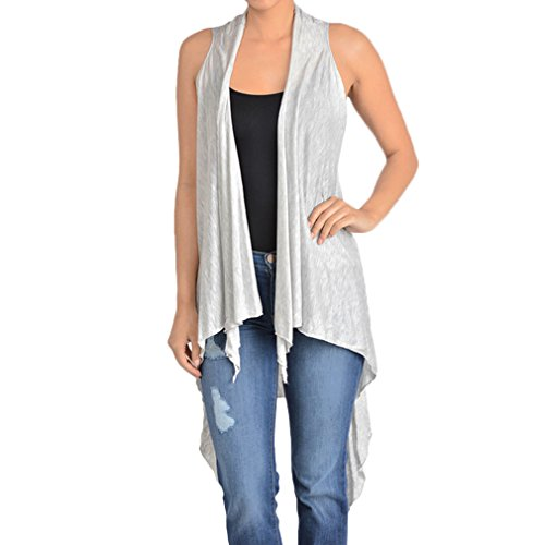 Upparel Women's Asymetric Hem Open Front Vest Cardigan -Made in USA,Heather grey , One - Outlets Santa Rosa
