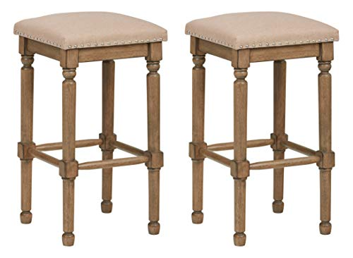 "Ravenna Home Ferris Nailhead Wood Detailed Bar Stool, 29.3""H, Weathered Oak with Linen Fabric (2 Pack)"
