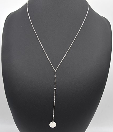 CL1372E - Sautoir Collier Fine Chaîne Pendentif Y Billes et Médaille Métal Argenté - Mode Fantaisie