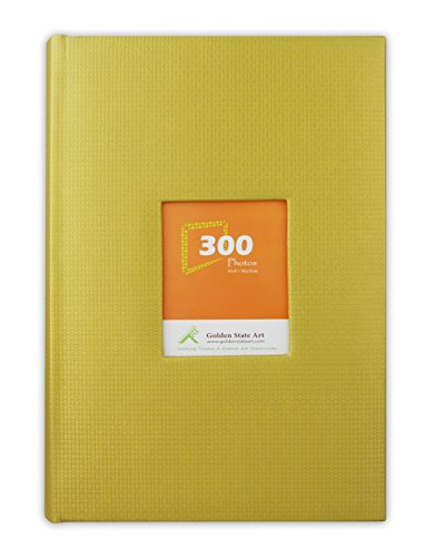 (Golden State Art Metallic Gold Geometric Pattern Embossed Cover Photo Album, Holds 300 4x6 Pictures, 3 Per Page)