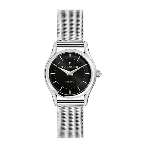 TRUSSARDI Women's T-Light Analog-Quartz Stainless-Steel Strap, Silver, 16 Casual Watch (Model: R2453127504) ()