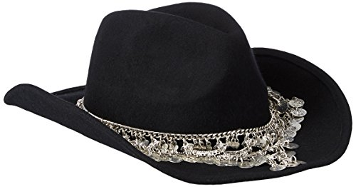 Gottex Women's Taj Felt Sun Hat With Exotic Chain Trim, Rated UPF 50+ For Max Sun Protection, Black/Silver, One Size by Gottex