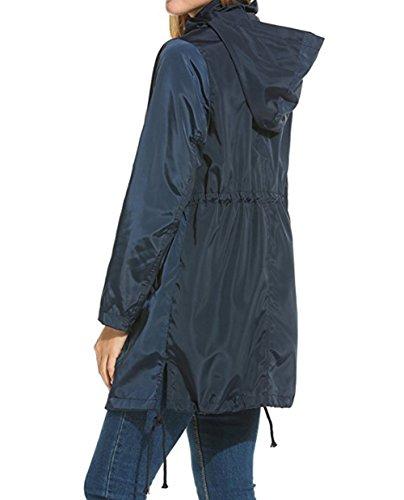 Pliable Couleur de Veste Respirant Longues Bevalsa Manches Manteau 2 Parka Pluie Capuche Femme Impermable Outwear Casual fYO6dO