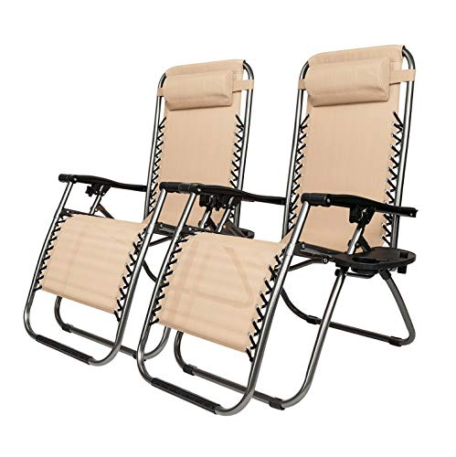 Kaputar 2 Folding Zero Gravity Lounge Chairs+Utility Tray Outdoor Beach Patio US oshion | Model CMPNGCHR - 120 |
