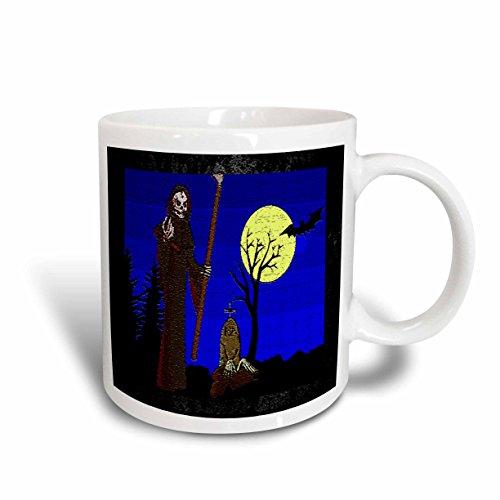 3dRose Sandy Mertens Halloween Designs - Grim Reaper Cartoon (Textured) - 15oz Mug (mug_36398_2) ()