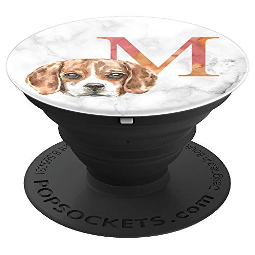 Beagle Dog Monogram Letter M  Watercolor - PopSockets Grip and Stand for Phones and Tablets