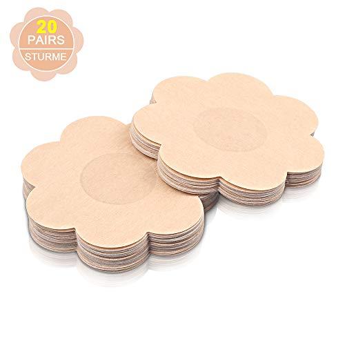 STURME 20 Pairs Nipple Covers Disposable, Breast Pasties Comfortable & Natural, Adhesive Satin Petals Pasties for Women