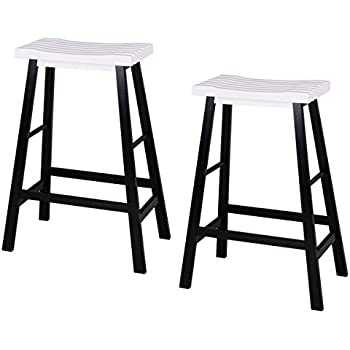 Amazon Com Costway Wood 29 Inch Saddle Seat Counter Stool