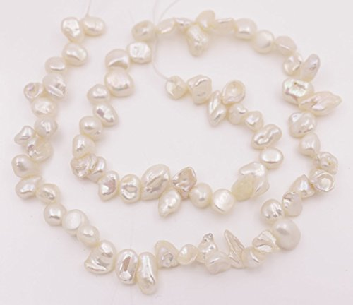 (5-8mm Top drilled natural white baroque keshi pearl loose beads 15 inches jewelry making)