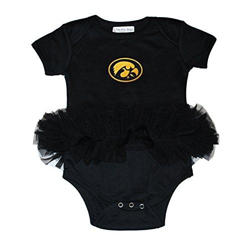 Iowa Hawkeye Baby Clothes - Two Feet Ahead NCAA Iowa Hawkeyes Children Girls Tutu Creeper,12Mo,Black