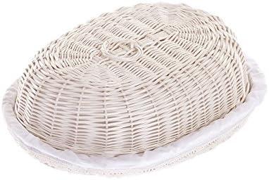 Corbeille /à pain en osier Bo/îte /à pain panier /à pain avec couvercle n/œud d/écoratives avec un plastique occup/é Corbeille /à pain ovale en beige
