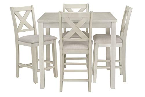 Ready To Live Sandpiper Counter Height Table and Chairs Set, White (Sets Table Counter Kitchen Height)