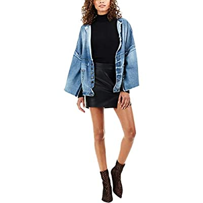 True Religion Womens Vegan Leather Going Out Mini Skirt