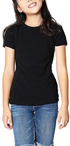 ToBeInStyle Girl's Classic Crew Neck Short Sleeve Tee - Black - Size 12