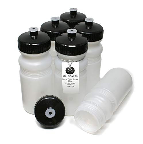 Rolling Sands 20 Ounce Sports Water Bottles 6 Pack, BPA-Free, Made in USA, Dishwasher Safe, Clear Frost Bottles/Black Lids
