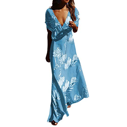 PENGYGY Pengy Woman Floral Dress Casual Sexy Deep V Neck Dress Prints Maxi Dresses Summer Short Sleeve Long Dress Blue]()